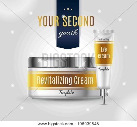 Realistic cosmetic products advertising template with plastic packages of different creams on gray background vector illustration