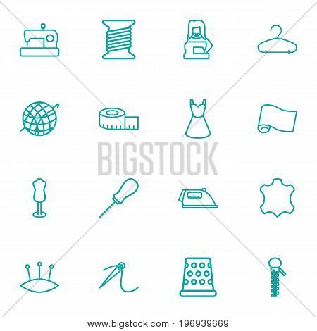 Collection Of Hanger, Leather, Sewing And Other Elements.  Set Of 16 Stitch Outline Icons Set.