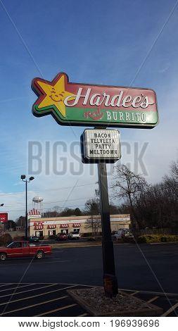 Bacon Velveeta Patty Meltdown at Hardees Restaurant