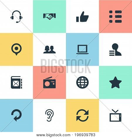 Elements Questionnaire, Handshake, Thumb Synonyms Audition, Radio And Headphone.  Vector Illustration Set Of Simple Social Icons.