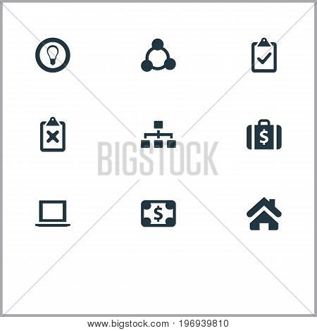 Elements Cooperation, Bulb, Complete Mark And Other Synonyms Teamwork, Pay And Home.  Vector Illustration Set Of Simple Business Icons.