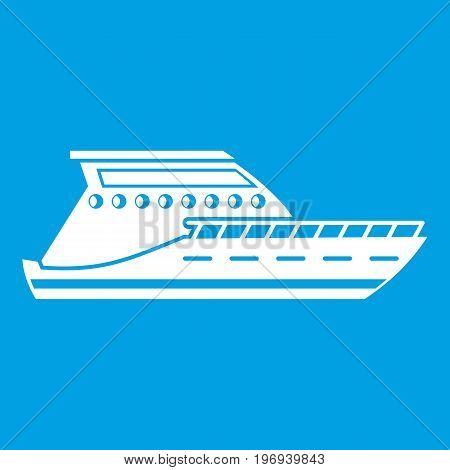 Yacht icon white isolated on blue background vector illustration