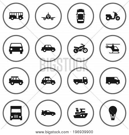Collection Of Cabriolet, Taxicab, Motorbike And Other Elements.  Set Of 16 Traffic Icons Set.