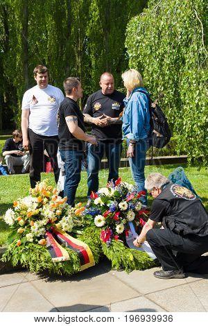 BERLIN - MAY 09, 2015: Wreaths from the Russian-German Brotherhood.