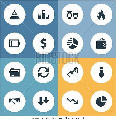 Elements Rotation, Wealth, Recession And Other Synonyms Binder, Wallet And Cents.  Vector Illustration Set Of Simple Trouble Icons.