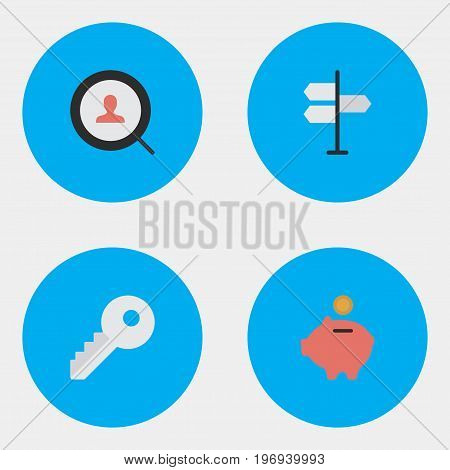 Elements Magnifier, Direction, Opening And Other Synonyms Open, Piggy And Bank.  Vector Illustration Set Of Simple Business Icons.