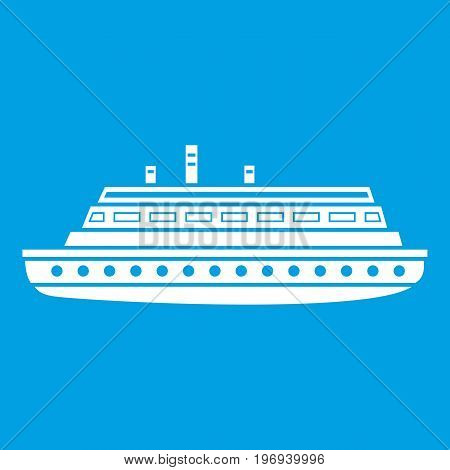 Long ship icon white isolated on blue background vector illustration