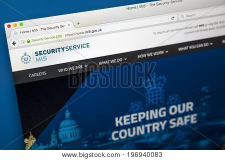 LONDON UK - JUNE 8TH 2017: The homepage of the official website for the MI5 Security Service on 8th June 2017. The MI5 is the UKs domestic counter-intelligence and security agency.