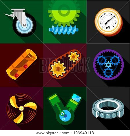 Machinery gear icons set. Flat set of 9 machinery gear vector icons for web with long shadow