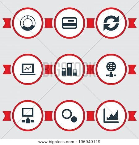 Elements Presentation, Refresh, Statistics And Other Synonyms Data, Chart And Circle.  Vector Illustration Set Of Simple Data Icons.
