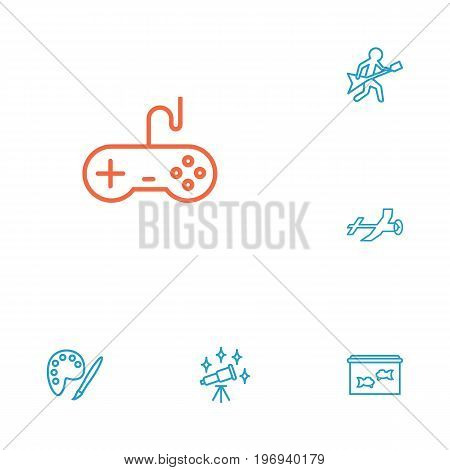 Collection Of Video Game, Painting, Guitar And Other Elements.  Set Of 6 Lifestyle Outline Icons Set.