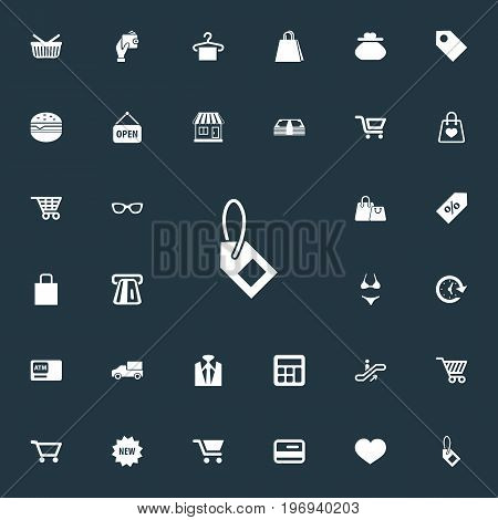 Elements Cart, Rack, Uniform And Other Synonyms Store, Basket And Welcome.  Vector Illustration Set Of Simple Purchase Icons.