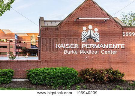 Burke, Usa - April 16, 2017: Kaiser Permanente At Burke Medical Center Sign On Brick Wall