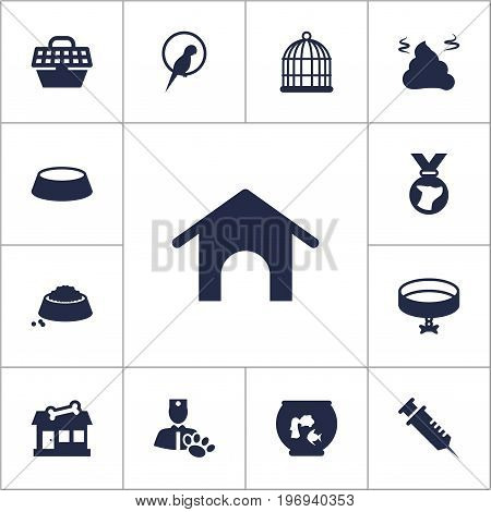Collection Of Birdcage, Home, Pile And Other Elements.  Set Of 13 Mammal Icons Set.