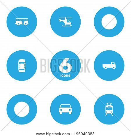 Collection Of Autobus, Car, Copter And Other Elements.  Set Of 6 Transport Icons Set.