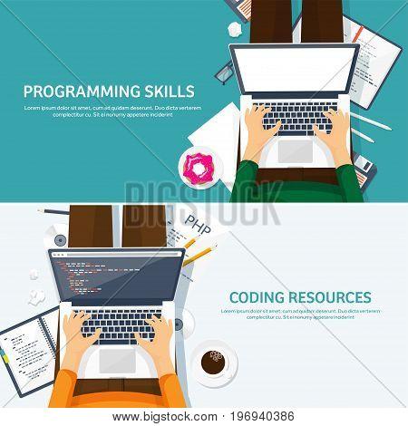Programming, coding. Flat computing background. Code, hardware, software. Web development. Search engine optimization Innovationtechnologies Mobile app Vector illustration SEO