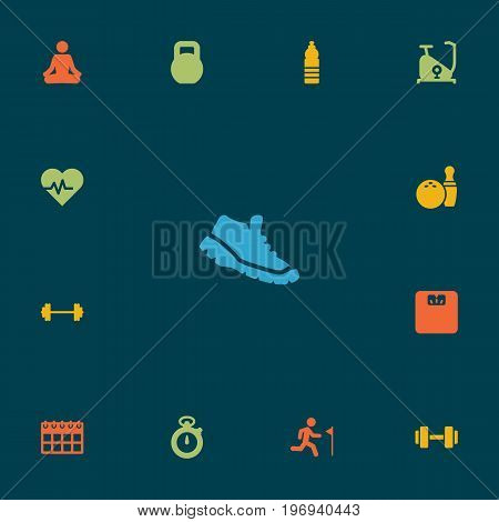 Collection Of Sneakers, Drink, Weights And Other Elements.  Set Of 13 Bodybuilding Icons Set.