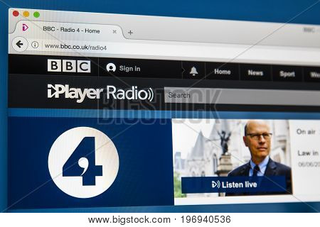 LONDON UK - JUNE 8TH 2017: The homepage of BBC Radio 4 on the BBC iPlayer website on 8th June 2017.