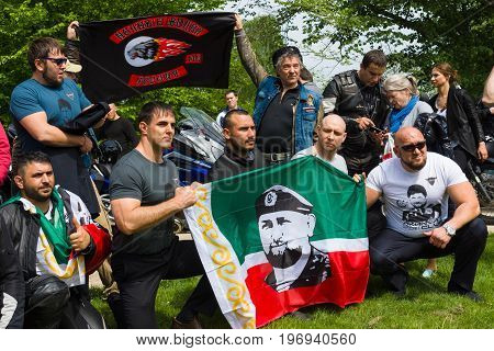 BERLIN - MAY 09 2015: Victory Day. Bikers Moscow motorcycle club