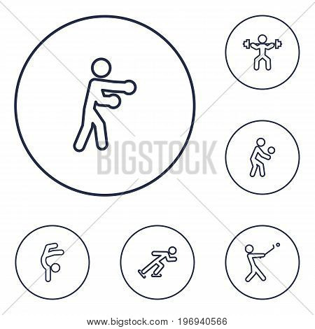 Collection Of Player, Box, Gymnastic And Other Elements.  Set Of 6 Fitness Outline Icons Set.