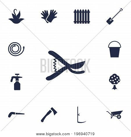 Collection Of Pruner, Spray Bootle, Latex And Other Elements.  Set Of 13 Household Icons Set.