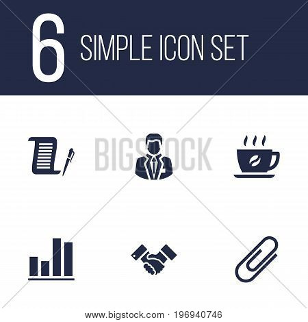 Collection Of Clip, Manager, Coffee And Other Elements.  Set Of 6 Bureau Icons Set.