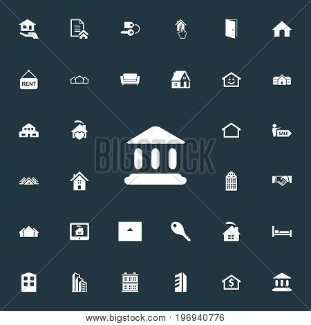 Elements Residential, Contract, Domicile And Other Synonyms Contract, Center And Board.  Vector Illustration Set Of Simple Estate Icons.