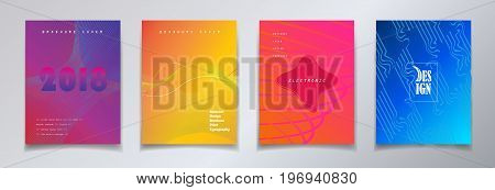 Minimalist style Vector brochure covers design. Halftone gradients. Future Poster template. Abstract modern background.