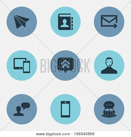 Elements Home Mark, Quick Post Delivery, Contacts And Other Synonyms Callcenter, Aircraft And Paper.  Vector Illustration Set Of Simple Contact Icons.
