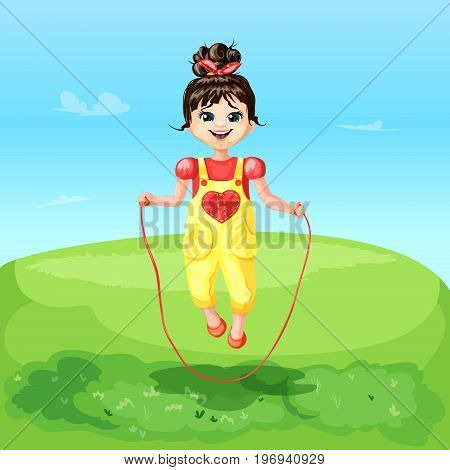 Cartoon happy joyful cheerful smiling girl jumping rope on beautiful landscape vector illustration