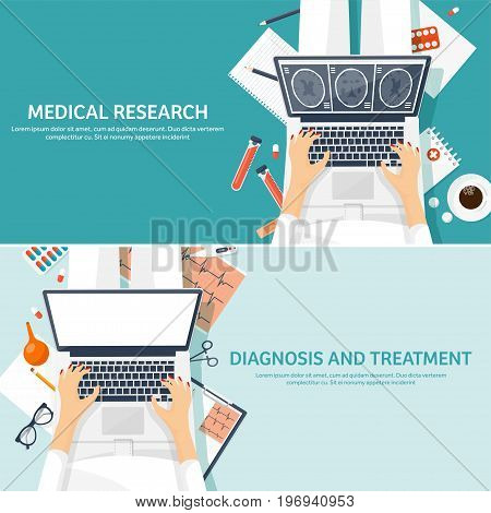 Medical flat background. Health care, first aid, research, cardiology. Medicinestudy Chemical engineering pharmacy