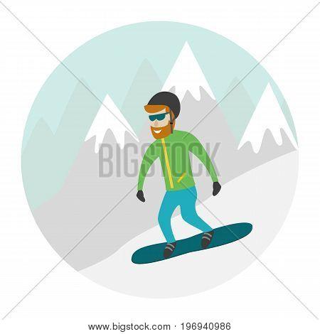 Ski resort illustration with snowboarder and mountains. Design for web tourist catalog placard brochure flyer booklet etc. Vector illustration.