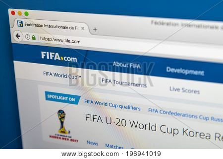 LONDON UK - JUNE 8TH 2017: The homepage of the official website for FIFA on 8th June 2017. FIFA is the international governing body of association football futsal and beach soccer.