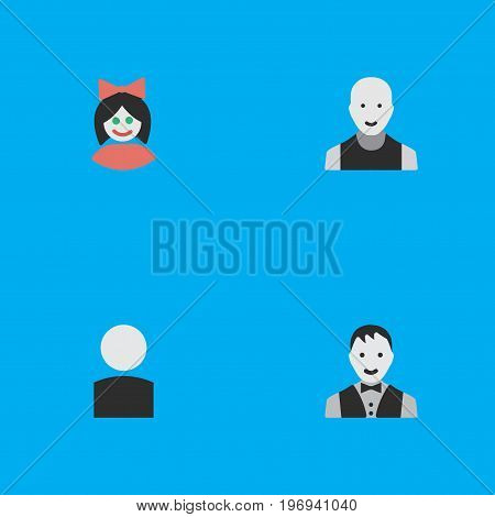 Elements Girl, Avatar, Man And Other Synonyms Male, Female And Girl.  Vector Illustration Set Of Simple Person Icons.