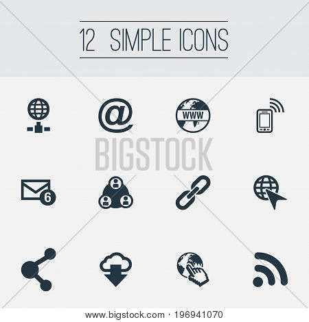 Elements Wifi, Chain, Nucleus And Other Synonyms Cursor, Www And Chain.  Vector Illustration Set Of Simple Internet Icons.