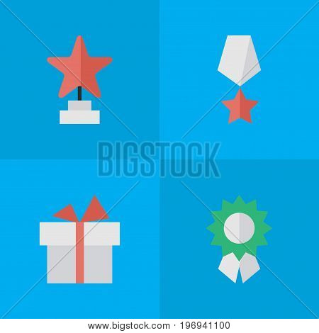 Elements Present, Star, Reward And Other Synonyms Gift, Present And First.  Vector Illustration Set Of Simple Prize Icons.