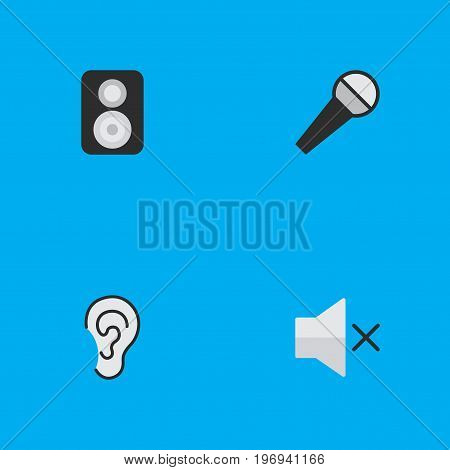 Elements Mike, Speaker, Volume And Other Synonyms Hear, Mike And Music.  Vector Illustration Set Of Simple Melody Icons.