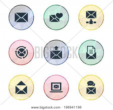 Elements Message, Sending, Refresh Message And Other Synonyms Envelope, Dispatch And Message.  Vector Illustration Set Of Simple Mail Icons.