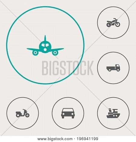 Collection Of Boat, Car, Aircraft And Other Elements.  Set Of 6 Shipping Icons Set.