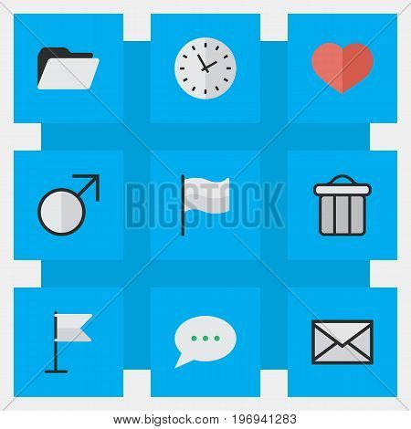 Elements Trashcan, Message Bubble, Envelope And Other Synonyms Junk, Soul And Inbox.  Vector Illustration Set Of Simple UI Icons.
