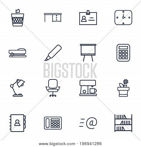 Collection Of Wall Clock, Email, Bookshelf And Other Elements.  Set Of 16 Bureau Outline Icons Set.