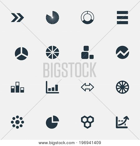 Elements Line Bar, Square, Reverse Arrows And Other Synonyms Menu, Blocks And Section.  Vector Illustration Set Of Simple Graph Icons.