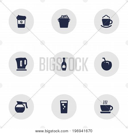 Collection Of Espresso, Cup, Electric Teapot And Other Elements.  Set Of 9 Drinks Icons Set.