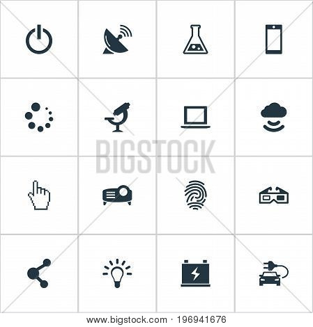 Elements Plug, Share, Thumbprint And Other Synonyms Loading, Data And Presentation.  Vector Illustration Set Of Simple Hitech Icons.