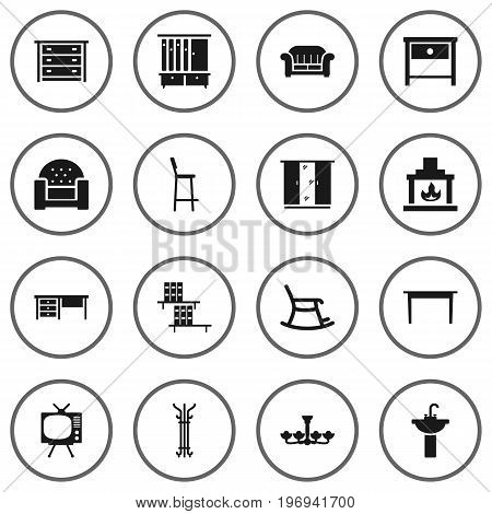 Collection Of Sofa, Rocking Furniture, Sink And Other Elements.  Set Of 16 Situation Icons Set.