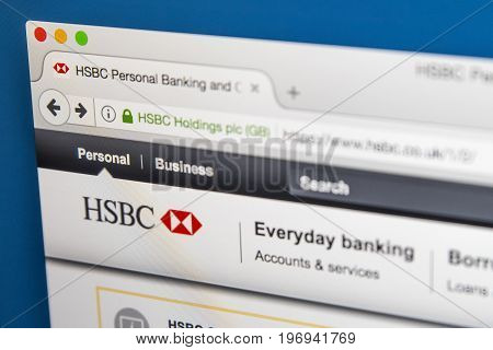 LONDON UK - JUNE 8TH 2017: The homepage of the official website for HSBC on 8th June 2017.