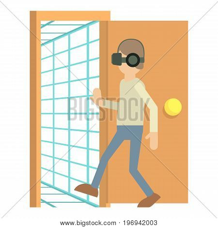 Door to the virtual space icon. Cartoon illustration of virtual space vector icon for web on white background