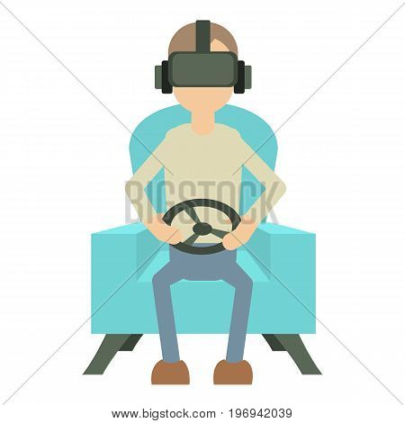 Game steering wheel icon. Cartoon illustration of game steering wheel vector icon for web on white background