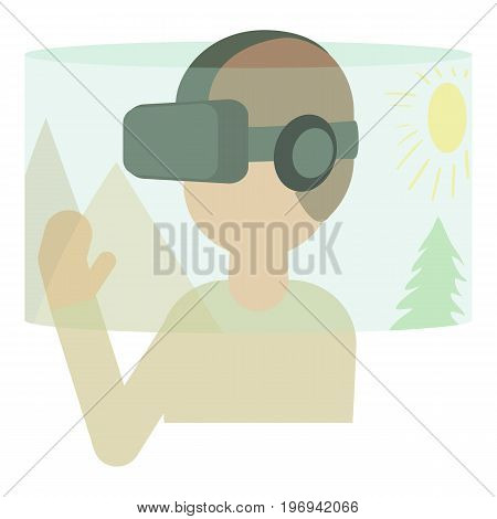 Virtual reality headset icon. Cartoon illustration of virtual reality headset vector icon for web on white background