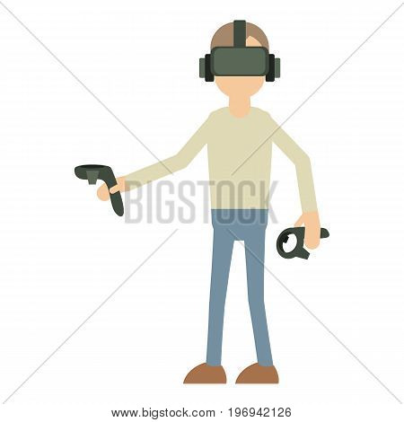 Man with vr manipulator icon. Cartoon illustration of man with vr manipulator vector icon for web on white background